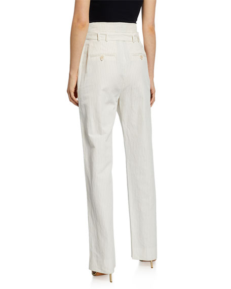 Image 2 of 3: Pinstripe Linen Belted Pants