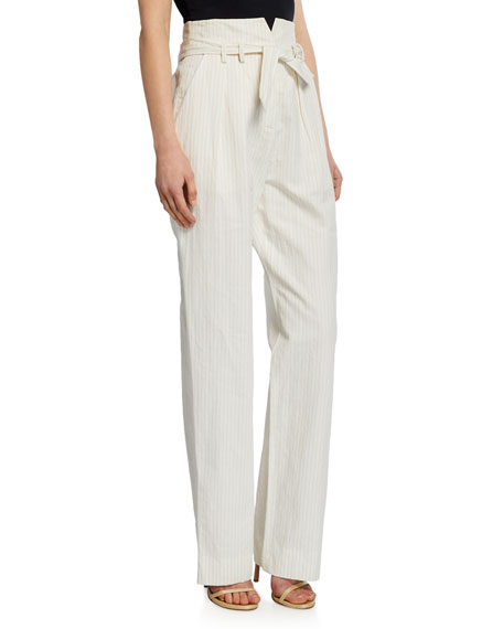 Image 1 of 3: Pinstripe Linen Belted Pants