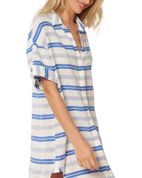 Red Carter Natalie Striped Coverup Tunic