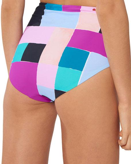 Red Carter Alexa High-Waist Colorblock Bikini Bottom