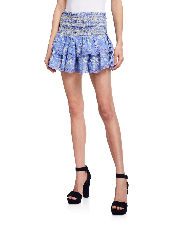 Mira Smocked Mini Ruffle Skirt by Love Shack Fancy