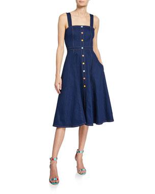 94f352ecb77 Shoshanna Olevia Button-Front Sleeveless Denim Dress