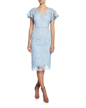 c6332550c8b Shoshanna Talor V-Neck Flutter-Sleeve Floral Lace Dress