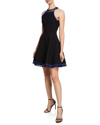 Plus Size Diamond-Cut Halter-Neck Fit-and-Flare Mini Dress