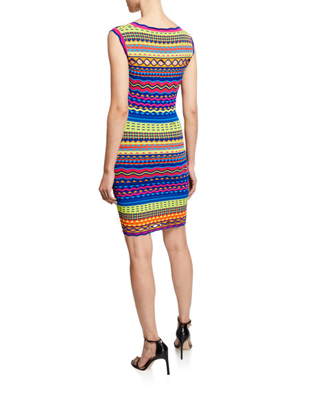 Milly Plus Size Technicolor Textured Square-Neck Mini Dress