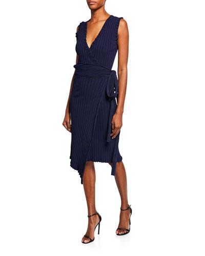 Plus Size V-Neck Sleeveless Wrap Dress