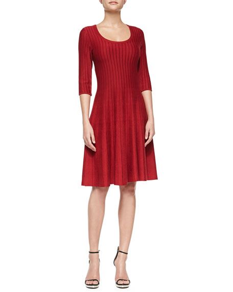 NIC+ZOE Petite Twirl Half-Sleeve Knit Fit-and-Flare Dress