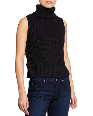 9937cb923478 Derek Lam 10 Crosby Sleeveless Chunky Turtleneck Sweater w/ Buttons