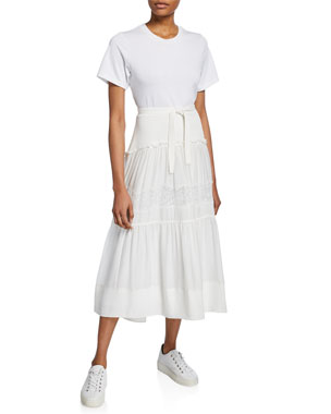 6670fa284c6 3.1 Phillip Lim Short-Sleeve T-Shirt Dress w  Belted Lace-Inset