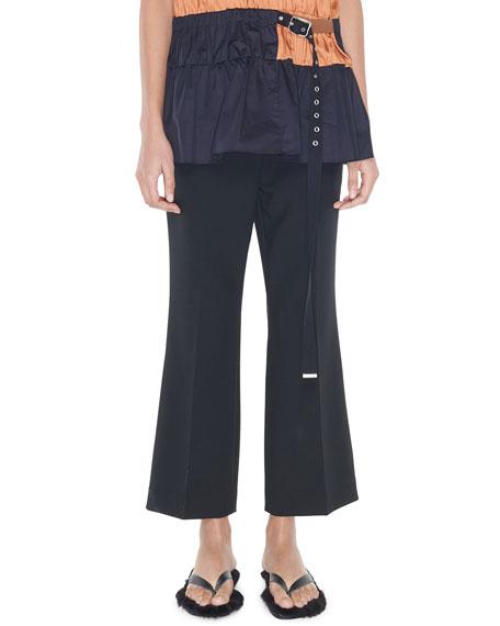 Tibi Cropped Mid-Rise Boot-Cut Pants