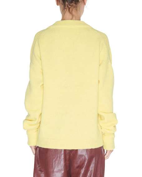 Tibi V-Neck Pullover Sweater with Arm Band Cuffs