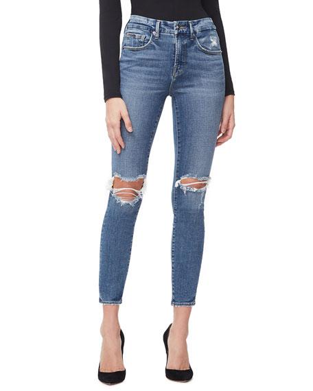 Good American Good Legs Crop Knee-Rip Jeans - Inclusive Sizing