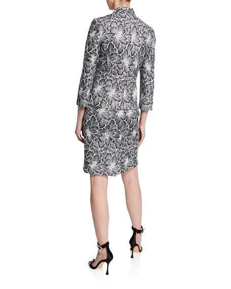 Albert Nipon Two-Piece Floral Lace Sleeveless Dress & Jacket Set