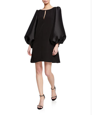82a73a2391f30 Badgley Mischka Collection Boat-Neck Puff-Sleeve A-Line Mini Cocktail Dress