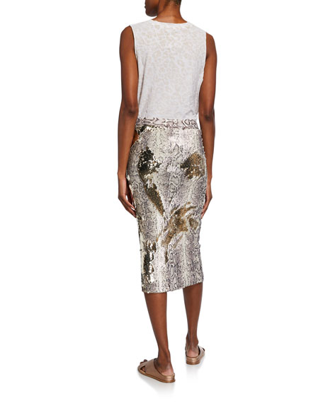 Le Superbe Liza Snake Sequin Bodycon Midi Skirt