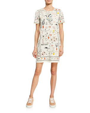 2dc545ef717 Tory Burch Printed Crewneck Short-Sleeve T-Shirt Dress
