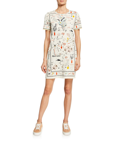 Tory Burch Printed Crewneck Short-Sleeve T-Shirt Dress