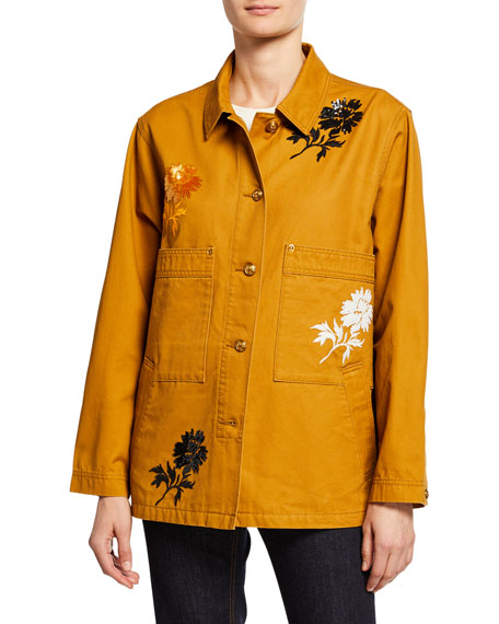 Tory Burch Embroidered Barn Jacket