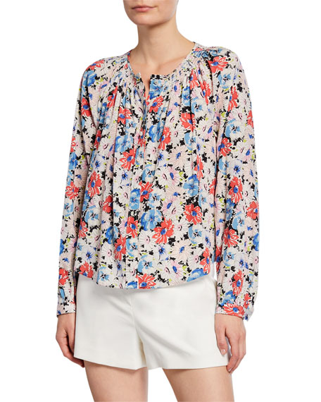Image 1 of 2: Veronica Beard Madge Button-Front Floral Blouse