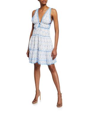 898a1f5c79 Jonathan Simkhai Embroidered Cotton V-Neck Mini Dress