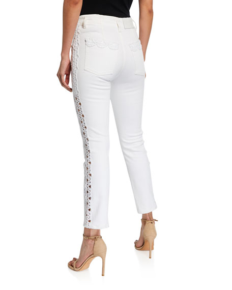 Jonathan Simkhai Applique E-Cig Button-Fly Jeans