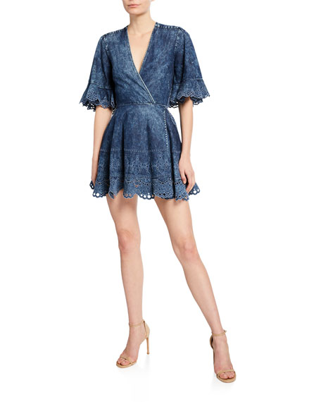 Jonathan Simkhai Denim Fit-&-Flare Cutout Dress