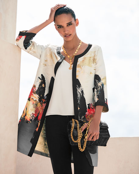Image 2 of 3: Berek Petite Abstract Floral Long Dressy Jacket