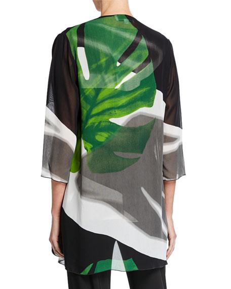 Caroline Rose Long Palm-Print Georgette Draped Jacket