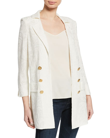 Misook Petite Textured Long Jacket with Golden Buttons