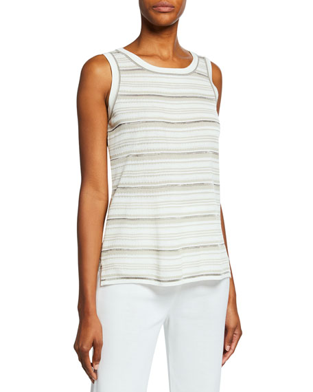 Misook Striped Longer Tank