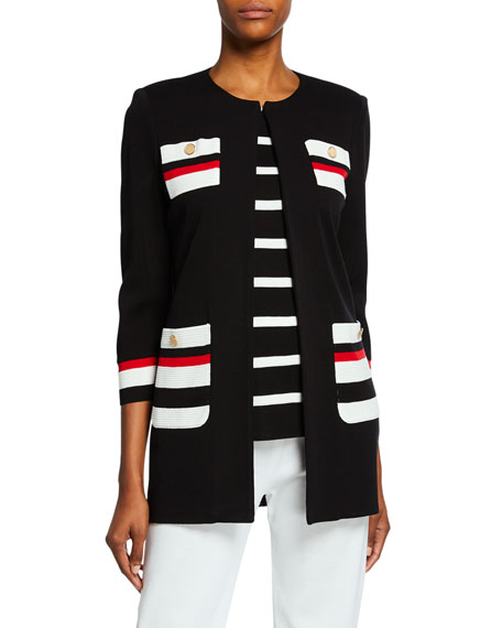 Image 1 of 3: Misook Plus Size Striped Long Jacket with Button Detail