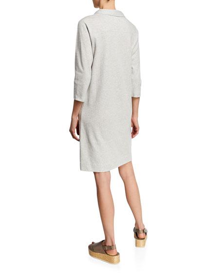 Joan Vass Petite 3/4-Sleeve Button-Front Cotton Interlock Shirtdress w/ Pockets