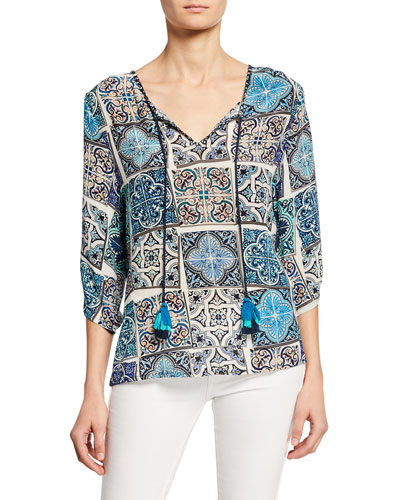 Plus Size Edith Mosaic Tile Print Split-Neck 3/4-Sleeve Silk Tunic