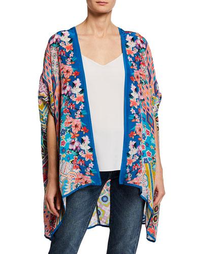 Plus Size Noelle Printed Half-Sleeve Kimono Jacket