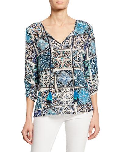 Edith Mosaic Tile Print Split-Neck 3/4-Sleeve Silk Tunic