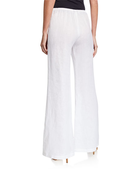 Caroline Rose Petite Tissue Linen Wide-Leg Pants