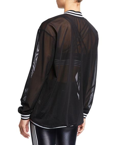 All Fenix Striped Zip-Front Mesh Bomber Jacket