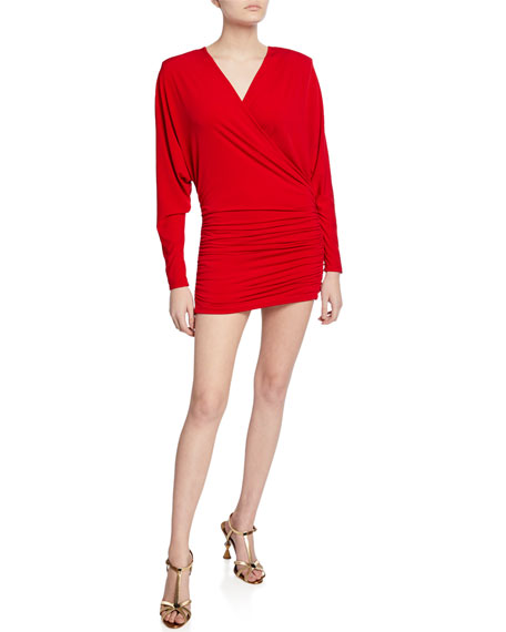 Jovani Long-Sleeve Shirred Faux-Wrap Mini Dress