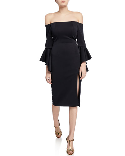 Off-the-Shoulder Double Trumpet-Sleeve Scuba Dress