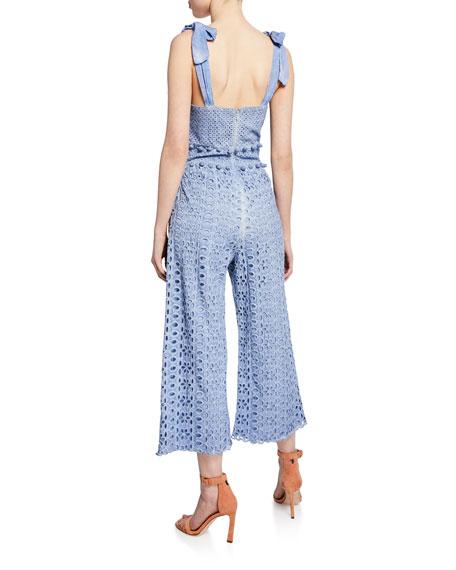 Saylor Hettie Tie-Shoulder Cutout Sleeveless Crop Jumpsuit