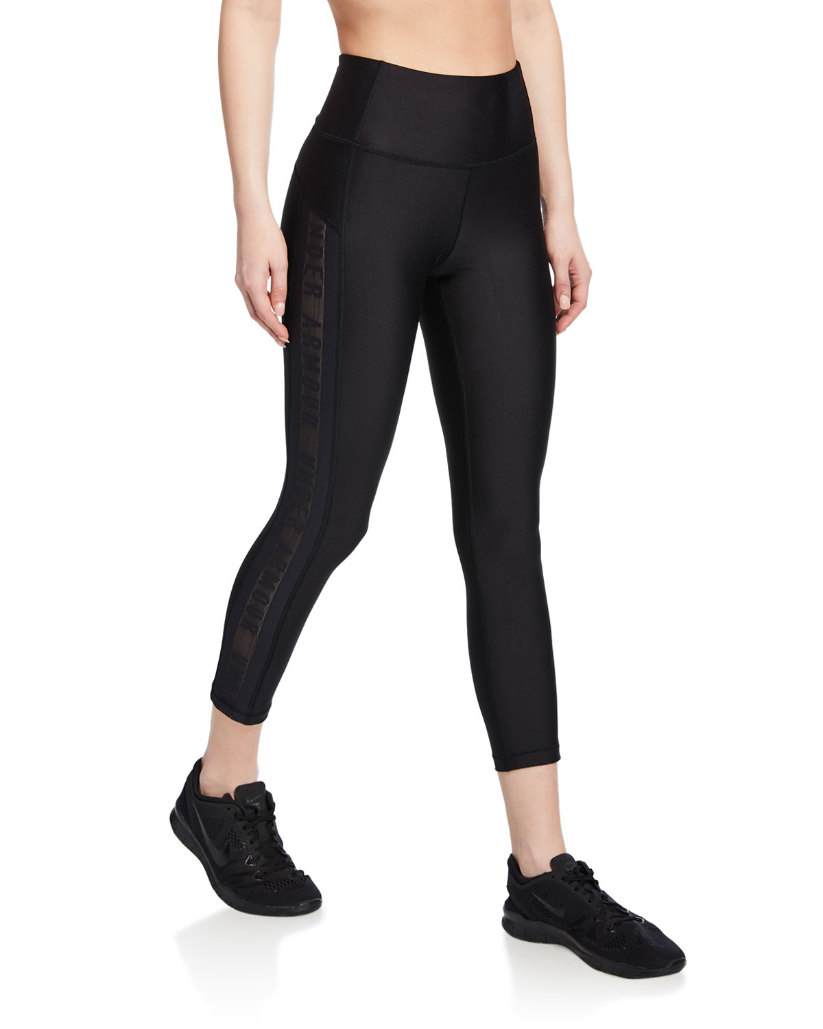 b389e97374486 Under Armour HeatGear Armour Ankle Crop Branded Leggings | Neiman Marcus