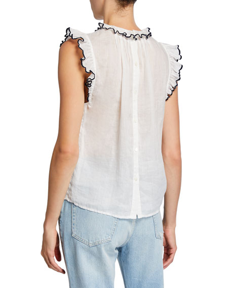 FRAME Tipped Sleeveless Ruffle Top