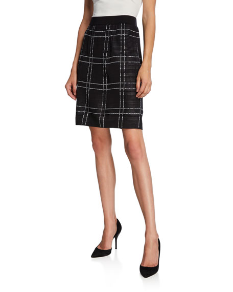 Misook Windowpane Straight Knee-Length Skirt