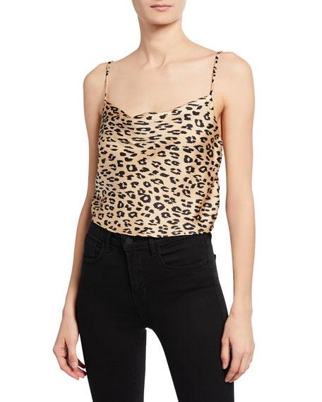 Bardot Leopard-Print Cropped Cowl-Neck Cami