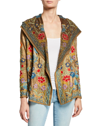 Zaza Floral-Embroidered Metallic Hoodie Jacket