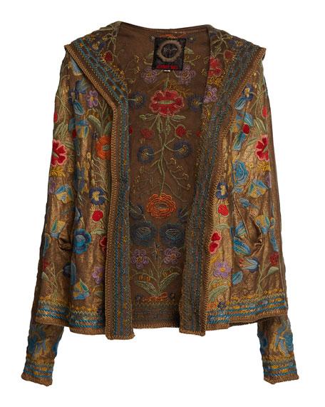 Johnny Was Zaza Floral-Embroidered Metallic Hoodie Jacket