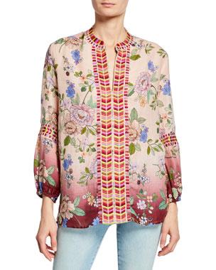ab77e49b Johnny Was Paris Effortless Floral-Print Bracelet-Sleeve Linen Blouse