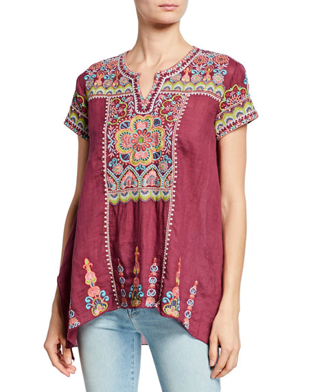 fe55a67515723 Johnny Was Tamia Embroidered Draped Top