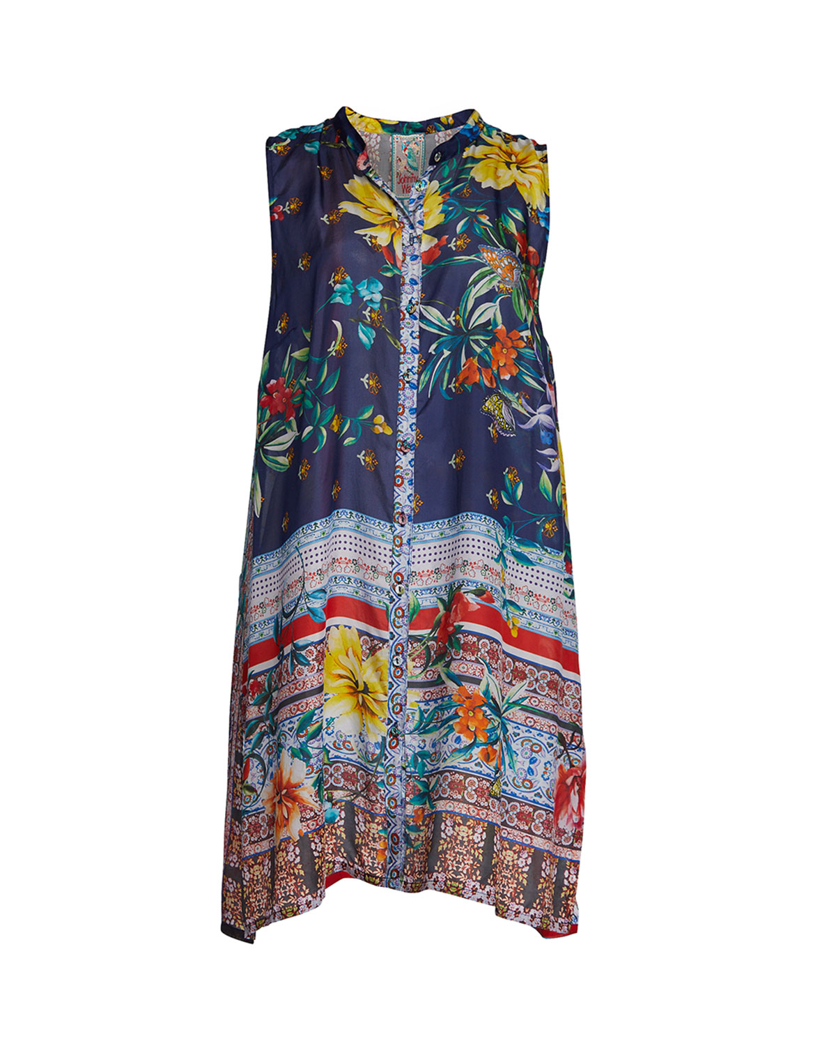 f51aef3be15 Johnny Was Bernie Sleeveless Button-Front Silk Georgette Tunic | Neiman  Marcus