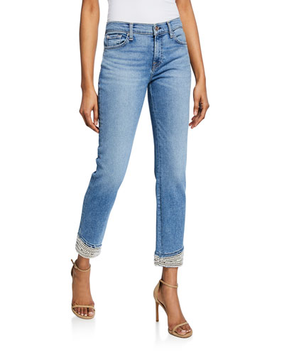 Mid-Rise Ankle Skinny Jeans with Pearl Cuffs